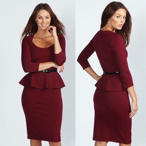 rochie office culoare bordo lungime midi