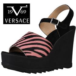 Sandale Versace V1969 Claudia din piele de vitel si platforma