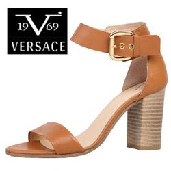 Sandale cu toc Versace V 1969 Lilas din piele