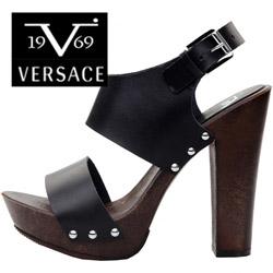 Sandale cu toc si tinte Versace Marica