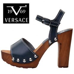 Sandale cu toc Versace V Gioia bleumarin din piele naturala