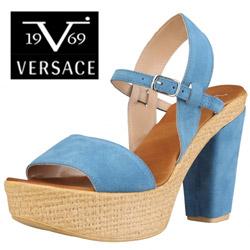 Sandale dama cu platforma Versace V1969 Grace turcoaz