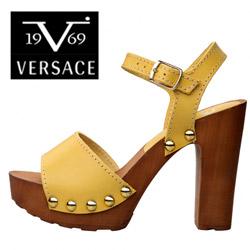 Sandale cu toc Versace V Gioia galben din piele naturala