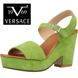 Sandale inalte cu toc Versace V1969 Audrey - culoare verde din piele naturala