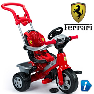 Tricicleta Ferrari Feber pentru baieti cu ham si maner detasabil