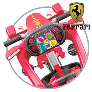 Tricicleta Feber Ferrari cu volan pentru baieti