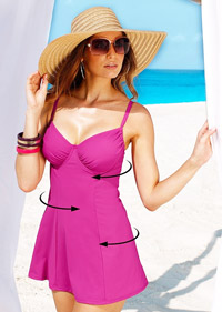 Costum de baie rochie material modelator bretele reglabile fucsia