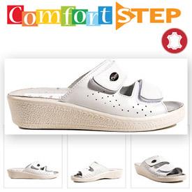 Papuci albi talpa ortopedica Comfort Zone femei