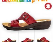 Papuci din piele cu talpa ortopedica Comfort Step la preturi reduse