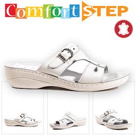 Papuci dama piele talpa ortopedica Comfort Step albi