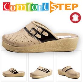 Papuci din piele talpa ortopedica Comfort Step