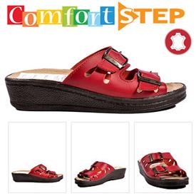 Papuci din piele cu talpa ortopedica Comfort Step rosii