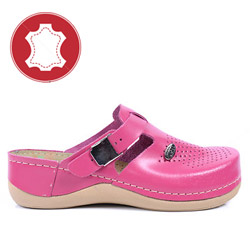 Papuci ergonomici din piele roz Leon