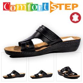Papuci negri ortopedici din piele pentru femei