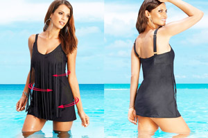 Rochie de plajă cu efect modelator 2 in 1 cu costum de baie tip rochie