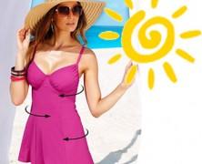 Costume de baie modelatoare gen rochita fustita pentru plinute