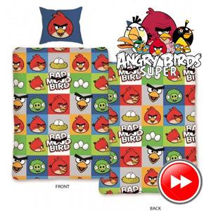 Lenjerie de pat Angry Birds 140x200 cm. Material: 100 % bumbac. Dimensiune: 140x200 cm; 70x80 cm.