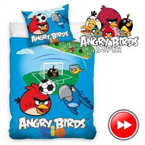 Lenjerie de pat Angry Birds RIO 160x200 cm