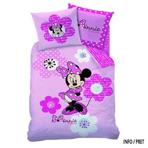 Lenjerie de pat Minnie Mouse Roz din bumbac pentru fetite