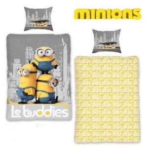 Lenjerie de pat copii Minions Grey pentru baieti