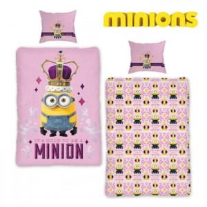 Lenjerie de pat copii Minions Pink pentru fetite
