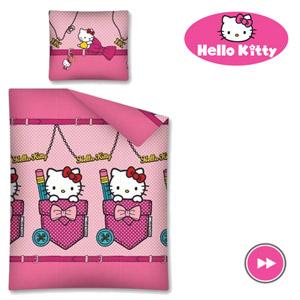 Lenjerie de pat copii roz Hello Kitty 140x200 cm fetite
