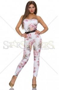 Salopeta Mellow Roses White. Salopeta lunga cu imprimeu floral, accesorizata cu o centura aurie.