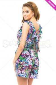 Salopeta femei de vara LaDonna Happy Woman DarkBlue. Salopeta LaDonna scurta cu imprimeu floral si buzunare, decupata la spate.