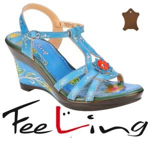 Sandale albastre florale din piele Feeling pentru femei