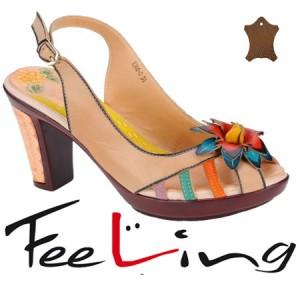 Sandale casual cu toc din piele Feeling