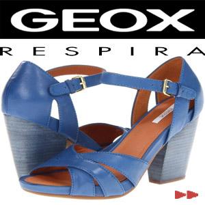 Sandale dama GEOX D Divinity din piele toc inalt gros patrat