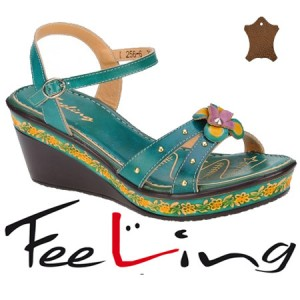 Sandale verzi din piele pentru femei Feeling