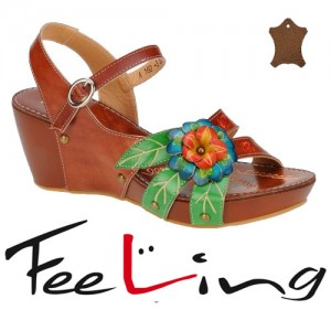 Sandale florale din piele Feeling de dama