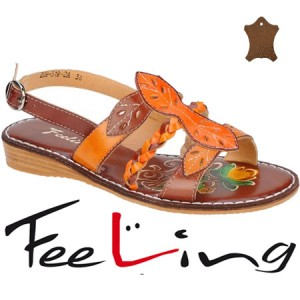 Sandale Feeling din piele talpa joasa