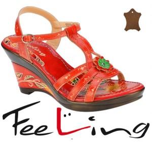 Sandale rosii din piele pentru femei Feeling
