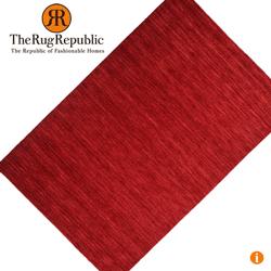 Covor din lana rosu carmin tesut manual unicat
