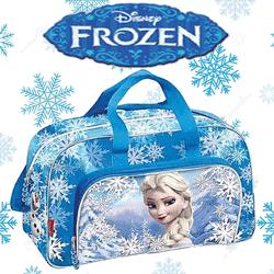 Geanta sport Disney Frozen Colectia Heart, fabricata din poliester, are doua compartimente, bretea ajustabila, barete de mana.