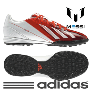 Ghete fotbal Adidas F10 Messi Trx Mens Football Trainers rosu cu alb