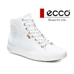 Ghete inalte dama din piele Ecco Soft 7 albe