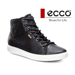 Ghete inalte dama din piele Ecco Soft 7 negru