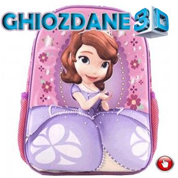 Ghiozdan gradinita 3D Printesa Sofia Roz