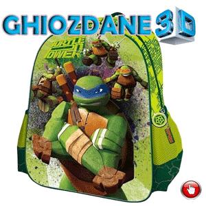 Ghiozdan mare de scoala pentru baieti imprimat 3D cu personajele Testoasele Ninja