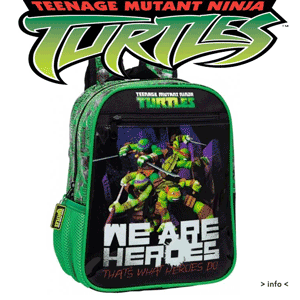 Ghiozdan mic 28 cm pentru baieti Testoasele Ninja Heroes
