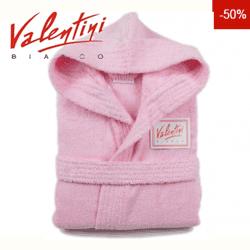 Halat de baie bumbac Valentini Bianco culoare roz pentru fetite