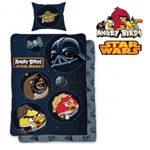 Lenjerie bumbac negru de pat Angry Birds Star Wars pentru baieti
