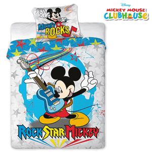 Lenjerie de pat baieti Disney Mickey Mouse Rock. Lenjerie de pat Disney Mickey Mouse ROCK 160X200 cm. Alaturi de personajul tau preferat Mickey Mouse, fiecare somn va fi linistitor si odihnitor pentru copil. Lenjeria este confectionata din bumbac 100% de inalta calitate anti-alergic si non-iritant. Imprimeul este facut cu tehnica de inalta calitate cu ajutorul culorilor saturate si puternice care persista chiar si dupa mai multe spalari. Dimensiuni: 160x200 cm; 70x80 cm. Setul de pat Mickey Mouse pentru baieti contine husa pilota si husa perna.
