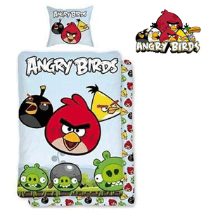 Lenjerie de pat din bumbac Angry Birds pentru baieti