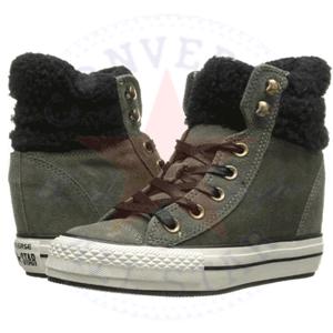 Platforme Converse imblanite de iarna Plat Plus Collar Suede Hi