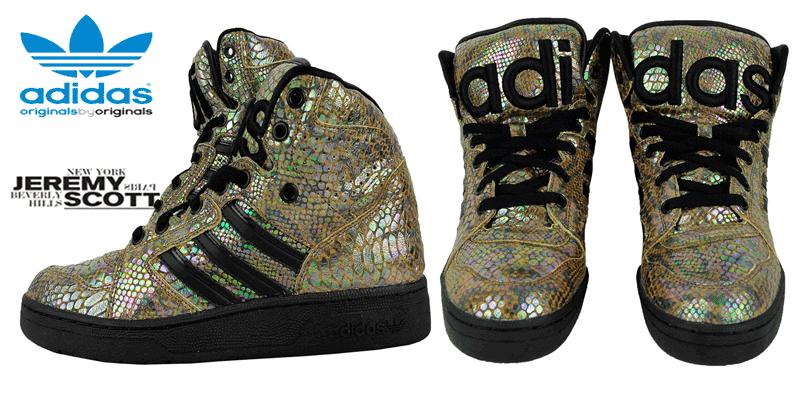 Daca esti o fire excentrica sau iti doresti sa te faci remarcat prin stilul tau, nu rata o pereche de bascheti deosebiti: Adidas Originals Jeremy Scott Instinct Hi Rainbow, de la adidas, sunt alegerea ideala! Inspirate din silueta pantofilor de baschet din anii '80, atat de iubita de designerul Jeremy Scott, poarta semnatura acestuia si marcheaza o colaborare emblematica cu brandul adidas. Modelul Adidas Originals Jeremy Scott Instinct Hi Rainbow respecta versiunile cunoscute ObyO JS, atat datorita imprimeului excentric cu efect snake - de reptila, cat si a dimensiunilor foarte mari a limbii si a zonei de protectie a gleznei. Pantofii sport adidas Originals Jeremy Scott Instinct HI Rainbow
