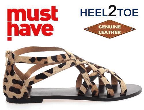 Sandale Heel2Toe Barete impletite piele naturala Leopard Print Bej